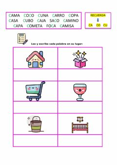 Interactive worksheet Palabras con  ca co cu