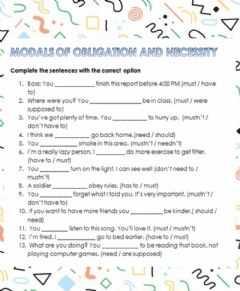 Interactive worksheet Modals of obligation and necessity