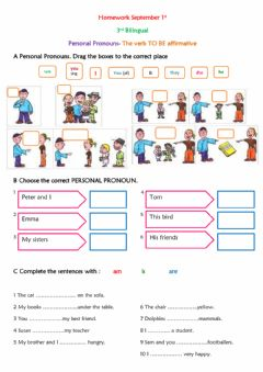 Interactive worksheet Personal Pronouns- Verb TO BE affirmative