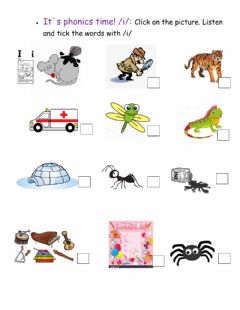 Interactive worksheet It-s phonics time! -i- sound