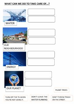 Interactive worksheet Taking care of our Planet.