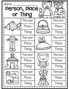 Interactive worksheet Person Place or Thing
