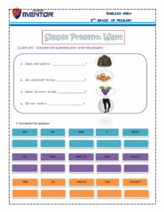 Interactive worksheet Simple present :want