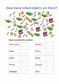 Interactive worksheet Count the school objects