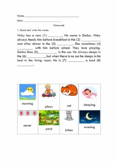Interactive worksheet READING ABOUT A cAT