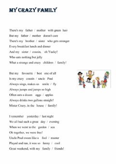 Interactive worksheet Song - My crazy family