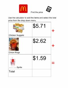 Interactive worksheet Find the price McDonalds 3