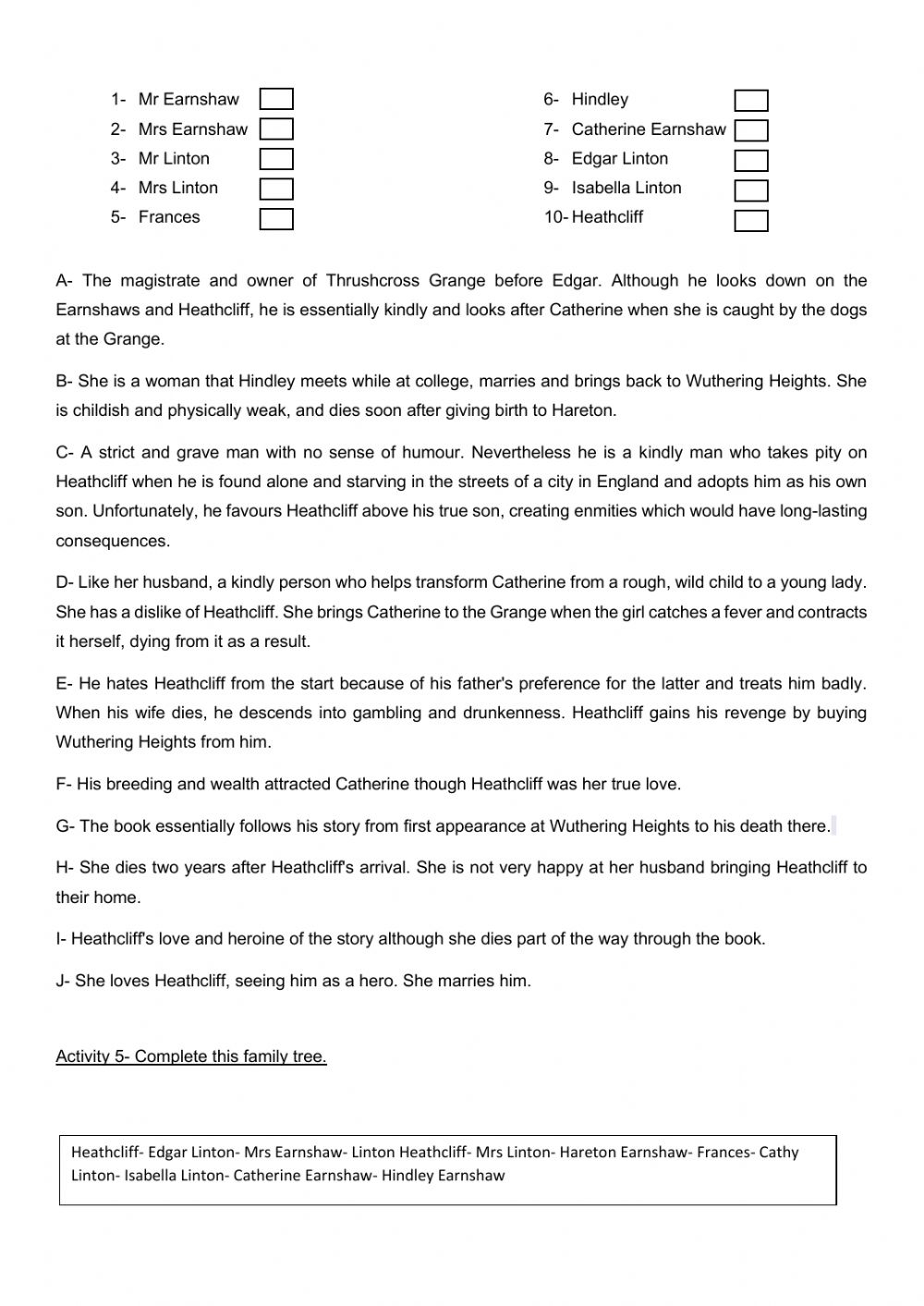 Wuthering Heights worksheet