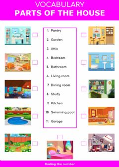 Interactive worksheet Parts of the house - finding the number