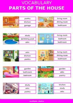 Interactive worksheet Parts of the house - multiple choice