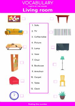 Interactive worksheet Parts of the house - living room and dining room -  finding the number