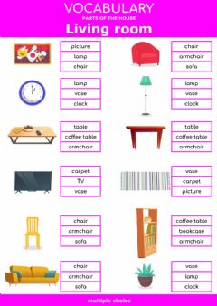 Interactive worksheet Parts of the house - living room and dining room - multiple choice