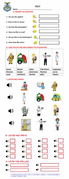 Interactive worksheet TEST 4TH PRIMARY