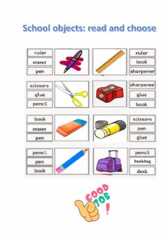 Interactive worksheet School objects: read and choose