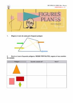 Interactive worksheet Figures planes: parts, segons els costats, regular-irregular