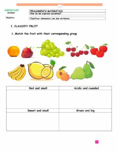 Interactive worksheet Sorting fruit