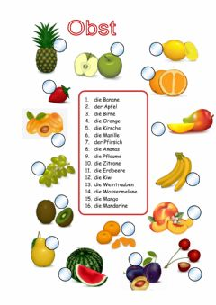 Interactive worksheet Obst Wortschatz