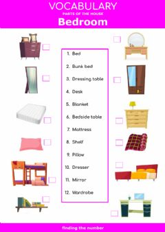 Ficha interactiva Parts of the house - bedroom - finding the number