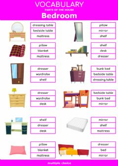 Interactive worksheet Parts of the house - bedroom - multiple choice