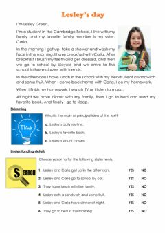 Interactive worksheet Daily routine YLE starters practice