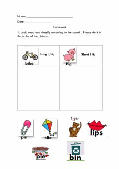 Interactive worksheet Vowel Sound I (short and long)