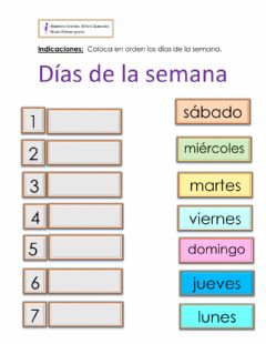 Interactive worksheet Días de la semana