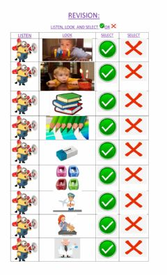 Interactive worksheet Revision: colours, numbers, school objects, family and professions