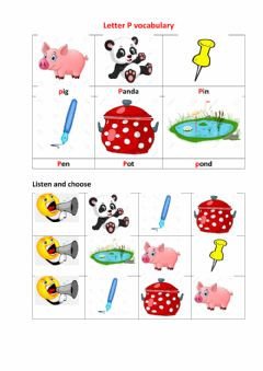 Interactive worksheet Letter Pp vocabulary