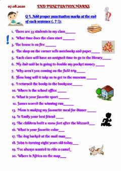 Interactive worksheet Punctuation marks
