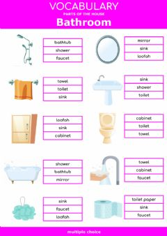 Ficha interactiva Parts of the house - bathroom - multiple choice