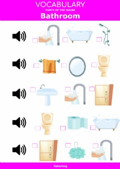 Interactive worksheet Parts of the house - bathroom - listening