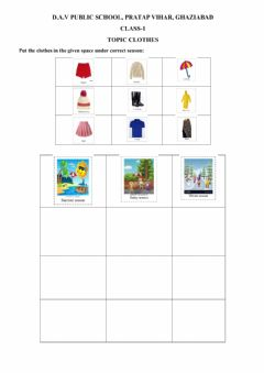 Interactive worksheet EVS topic clothes and seasons