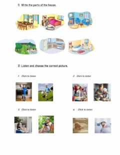 Interactive worksheet Parts of the house - Practice