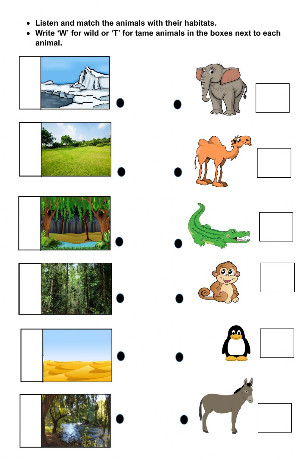 Wild And Tame Animal With Their Sounds And Habitats Worksheet