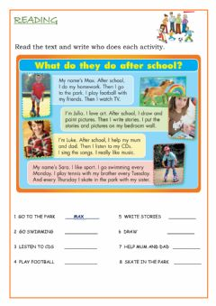Interactive worksheet Reading, After school activities