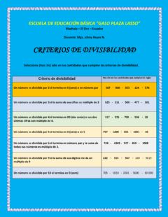 Interactive worksheet Criterios de divisibilidad
