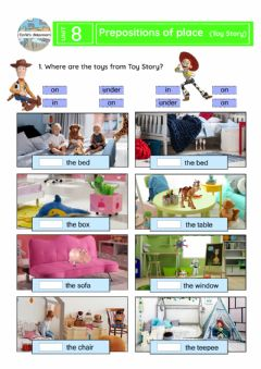 Ficha interactiva Prepositions of place (Toy Story)