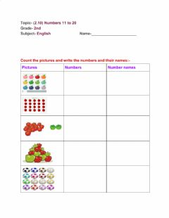 Interactive worksheet 11 to 20 Numbers