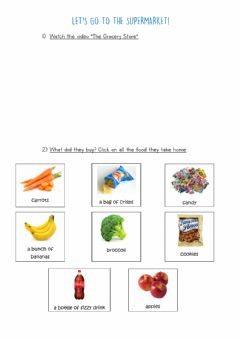 Interactive worksheet Let's go to the supermarket!