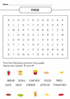 Interactive worksheet FOOD word search
