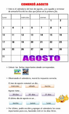 Interactive worksheet Calendario agosto