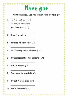 Interactive worksheet Have got
