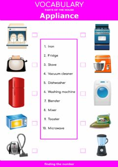 Interactive worksheet Parts of the house -appliance - finding the number