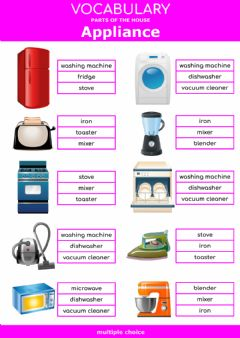 Interactive worksheet Parts of the house - appliance - multiple choice