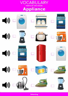 Interactive worksheet Parts of the house - appliance - listening