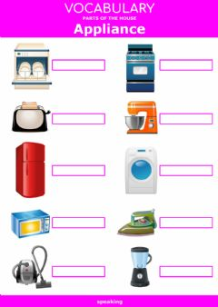Interactive worksheet Parts of the house - appliance - speaking