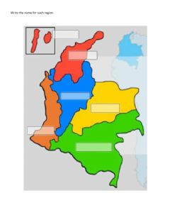 Interactive worksheet Colombia regions