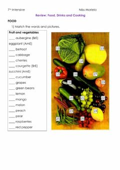 Interactive worksheet Food, drinks and cooking- Vocabulary Revision