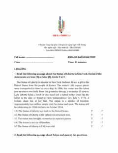 Interactive worksheet Lớp 6 - Unit 9 CITIES OF THE WORLD-READING