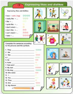 Interactive worksheet Expressing likes and dislikes